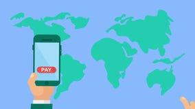 Globale bewegliche Zahlung stock video footage