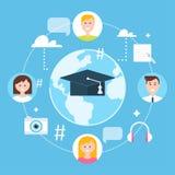 Globale Bildung, online lernen und E-Learning-Konzept-Vektor-Illustration Lizenzfreie Stockfotos