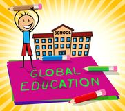 Globale Bildung zeigt die Welt an, die Illustration 3d lernt Lizenzfreie Stockfotografie