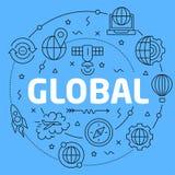 Globale Blauwe Lijnenillustratie voor presentatie royalty-vrije illustratie