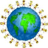 Globale browniejonge geitjes Royalty-vrije Stock Afbeeldingen