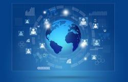 Globale Communicatie Concepten Blauwe Achtergrond Stock Foto