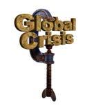 Globale crisis 3D woorden in een ondeugd Stock Foto