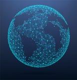 Globale de wereldkaart die van netwerkverbindingen uit punten en lijnen bestaan Stock Foto's