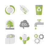 Globale ecologie en natuurbescherming vlakke geplaatste pictogrammen Royalty-vrije Stock Afbeeldingen