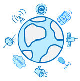 Globale Elektronik und globales Electrcommunications Stock Abbildung