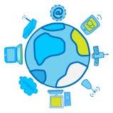 Globale Elektronik und Kommunikationen Vektor Abbildung
