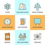 Globale Energiequellenlinie Ikonen eingestellt Lizenzfreies Stockbild