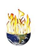 Globale Erwärmung der Erde mit Flameson-Weiß lizenzfreie stockfotografie