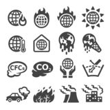 Globale Erwärmung, Treibhauseffekt-Ikonensatz lizenzfreie abbildung