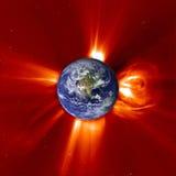 Globale Erwärmung - westliche Erde u. Sonneneruption Stockfoto