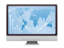 Globale financiën op het scherm vector illustratie