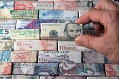 Globale Finanz- und Bankenlandschaftsbanknoten (Dollar) Stockbild