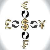 Globale Forex die 5 belangrijke munten van de wereld uitwisselen - Amerikaanse Dollars, de Yen van Japan, Zwitsers Franken Brits P Royalty-vrije Stock Foto's