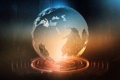 Globale gegevensuitwisseling Vorming van een planetarisch communicatienetwerk Zaken op het gebied van digitale technologieën royalty-vrije illustratie