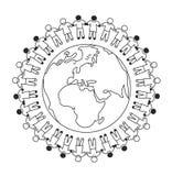 Globale Gemeenschap Alle elementen en texturen zijn individuele voorwerpen Vectorillustratieschaal aan om het even welke grootte Royalty-vrije Stock Foto
