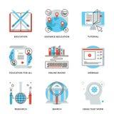Globale geplaatste de lijnpictogrammen van onderwijselementen Stock Foto
