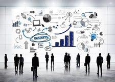 Globale Geschäftskommunikationen mit Infographic Stockfotos