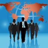 Globale Geschäftsleute Teamweltkarten-Hintergrund Lizenzfreie Stockfotografie