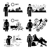 Globale het Verwarmen Broeikaseffecten Cliparts Stock Afbeelding