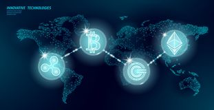 Globale internationale blockchaincryptocurrency Ontwerp van het de financi?nbankwezen van de wereldkaart het lage poly moderne to royalty-vrije illustratie