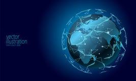 Globale internationale cryptocurrency van de verbindingsinformatie-uitwisseling blockchain Planeet ruimte lage poly toekomstige t royalty-vrije illustratie