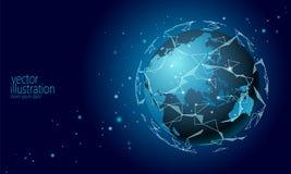 Globale internationale cryptocurrency van de verbindingsinformatie-uitwisseling blockchain Planeet ruimte lage poly toekomstige t stock illustratie