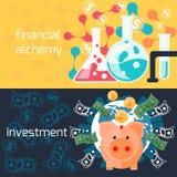 Globale Investition und Finanzalchimiekonzept Lizenzfreies Stockbild