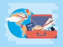 Globale kaart met plaatsentekens en aktentas stock illustratie