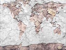 Globale kaart uitgedroogde aarde Royalty-vrije Stock Foto