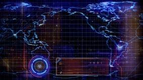 Globale Kaarttechnologie Gerichte 4K Lijn stock illustratie