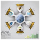 Globale Ökologie und Umwelt Infographic Sandglass Lizenzfreies Stockbild