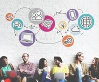 Globale Kommunikations-Ikonen-Konzept Technologie-Verbindungs-Digital Lizenzfreies Stockbild