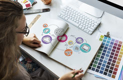Globale Kommunikations-Ikonen-Konzept Technologie-Verbindungs-Digital Stockbilder
