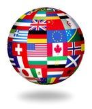Globale Markierungsfahnen der Welt Stockfotografie