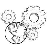 Globale Maschinenskizze Lizenzfreie Stockfotografie
