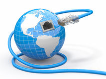 Globale mededeling. Aarde en kabel, rj45. Stock Foto