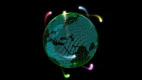Globale mededelingen door het netwerk van verbindingenhd lijn stock videobeelden