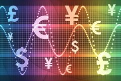 Globale Munten van de Sector van de regenboog de Financiële Royalty-vrije Stock Fotografie
