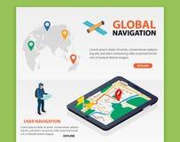 Globale Navigatie De vlakke 3d isometrische mobiele GPS-vector van navigatiekaarten De speld van het wereldsilhouet Tablet met gp Stock Fotografie