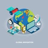 Globale Navigations-isometrische Illustration Stockfotos