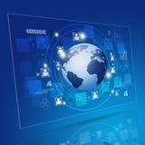 Globale Netwerk Blauwe Achtergrond Stock Afbeelding