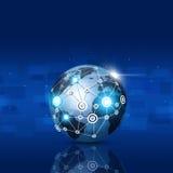 Globale Netwerk Blauwe Achtergrond Royalty-vrije Stock Afbeelding