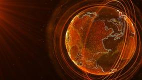Globale netwerkverbinding Het Punt van de wereldkaart Het vertegenwoordigen van globaal De aansluting van het netwerk het 3d teru royalty-vrije stock foto