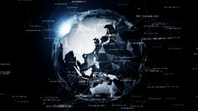 Globale netwerkverbindingen rond de aarde Stock Fotografie