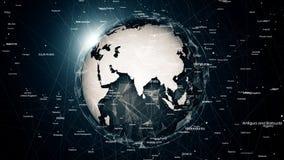Globale netwerkverbindingen rond de aarde Royalty-vrije Stock Fotografie