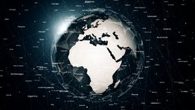 Globale netwerkverbindingen rond de aarde Royalty-vrije Stock Afbeeldingen