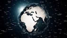 Globale netwerkverbindingen rond de aarde Stock Afbeelding