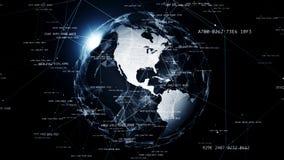 Globale netwerkverbindingen rond de aarde Stock Foto's