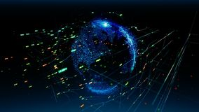 Globale Netwerkverbindingen U kunt het voor een technologie, een mededeling of een sociale media achtergrond gebruiken stock footage